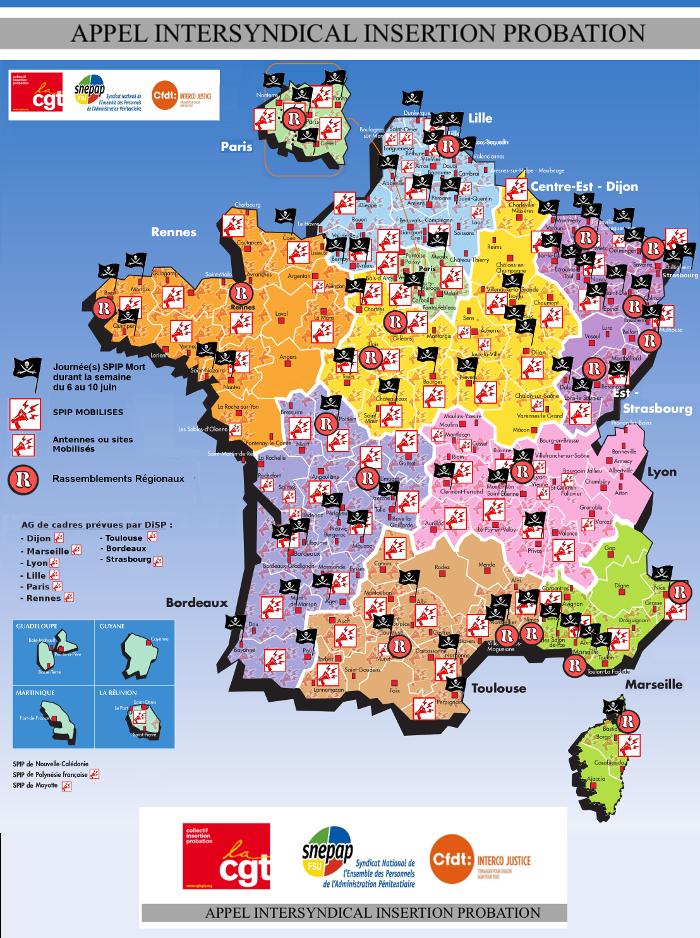 Carte des spip morts semaine du 6 au 10 juin tracts - Porte carte administration penitentiaire ...