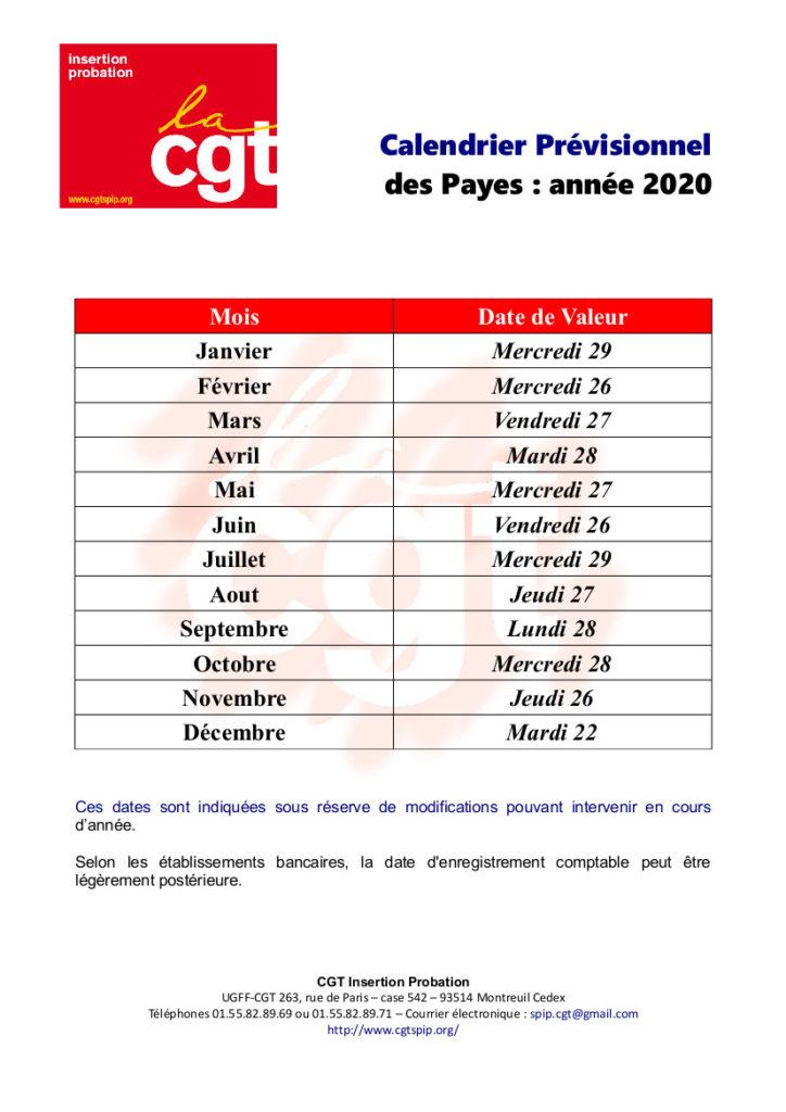 Calendrier des payes 2020 et 2021 – CGT insertion probation